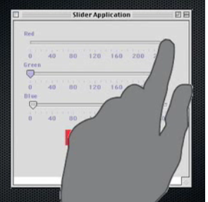 Sliders dans une interface tactile